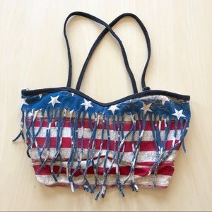 4th of July Bandeau Crop Top Removable Straps Sm